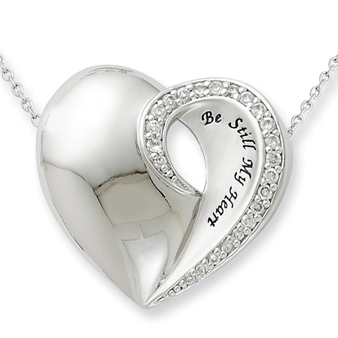 Sterling Silver Be Still My Heart 18in Necklace