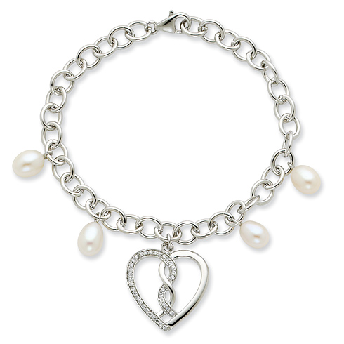 Sterling Silver 7in Hearts Joined Together Bracelet