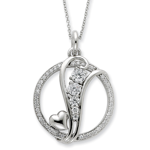 Sterling Silver CZ Journey Of Promise 18in Necklace