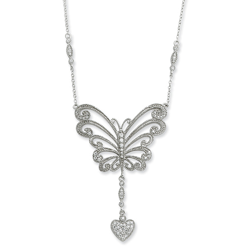 Sterling Silver CZ The Way Of Love 18in Necklace