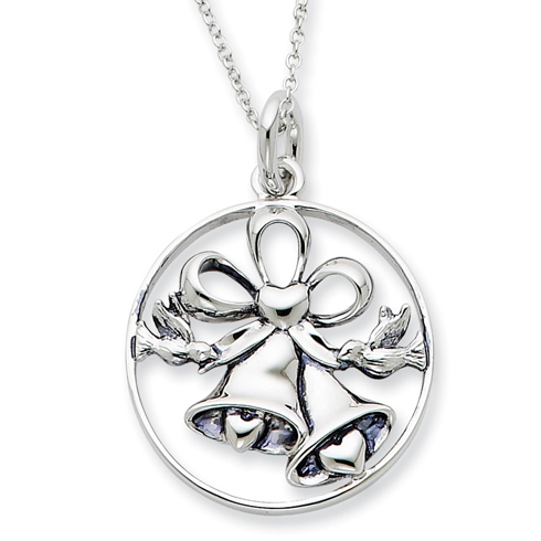 Sterling Silver Antiqued Wedding Day Bliss 18in Necklace