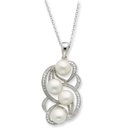 Sterling Silver Cultured Pearl Pearls Of Love 18in Necklace