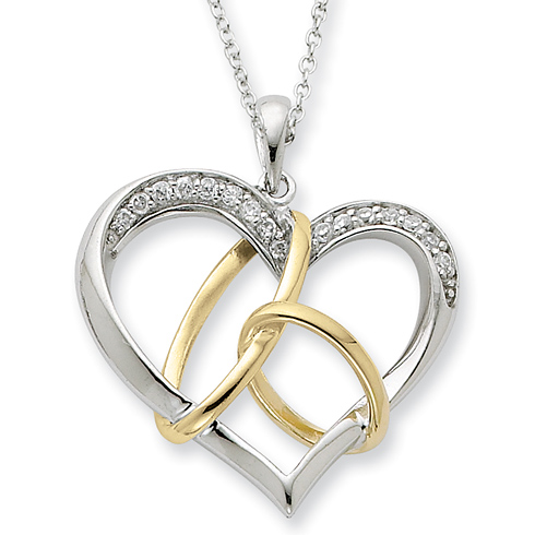 Sterling Silver & Gold-plated CZ To Have And To Hold 18in Necklace