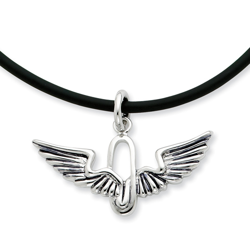 Sterling Silver Renewed Strength 22in Rubber Cord Necklace