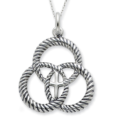 Sterling Silver Antiqued Threefold Cord 18in Necklace