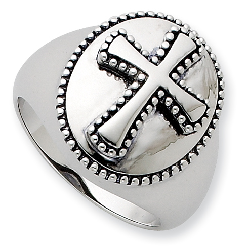Sterling Silver Antiqued Boldness Cross Ring Size 9