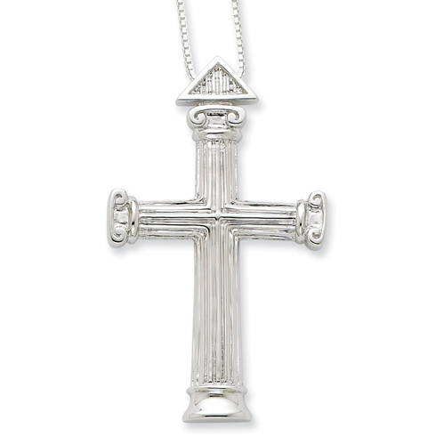 Sterling Silver 2in Strength Cross 18in Necklace