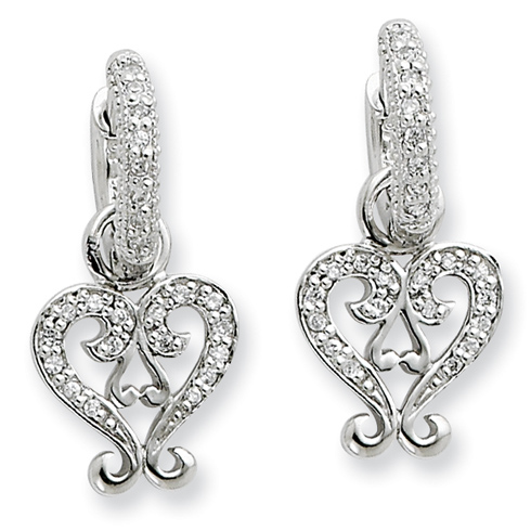 Sterling Silver CZ Heart Charm Earrings