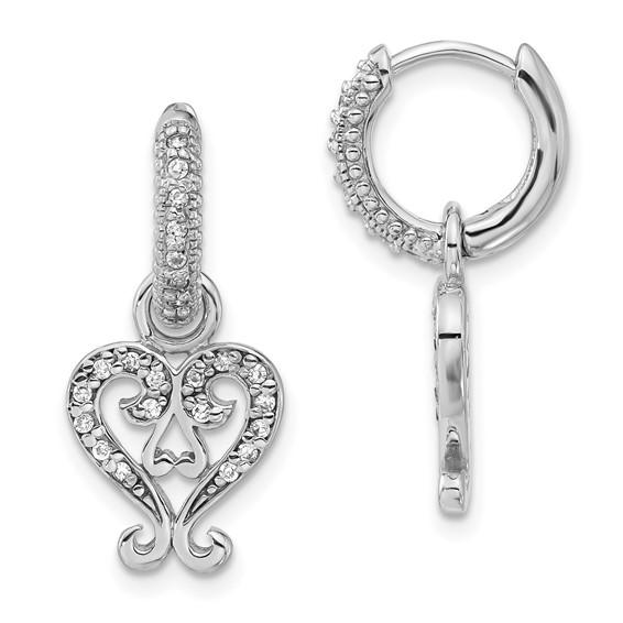 Sterling Silver CZ Heart Charm Earrings
