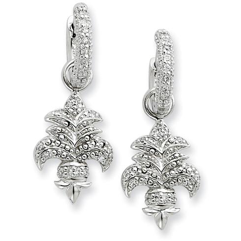 Sterling Silver CZ Fleur de lis Dangle Earrings