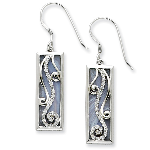 Sterling Silver Blue Lace Agate and CZ Living Water Earrings