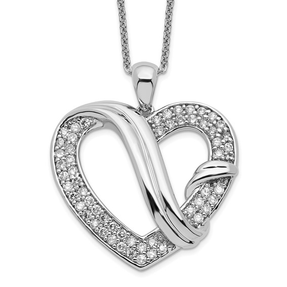 Sterling Silver CZ Forever Grateful 18in Necklace