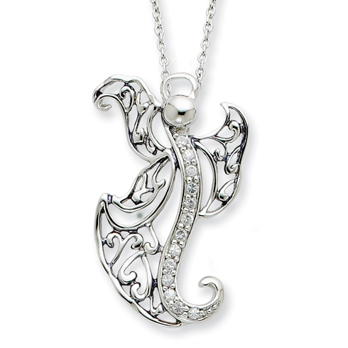 Sterling Silver CZ Angel of Optimism 18in Necklace
