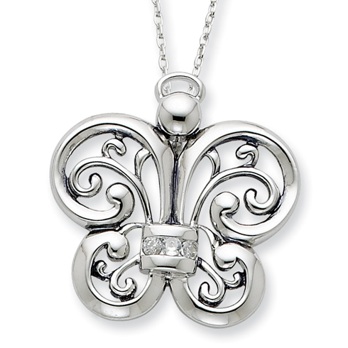 Sterling Silver Angel of Courage Necklace with CZs