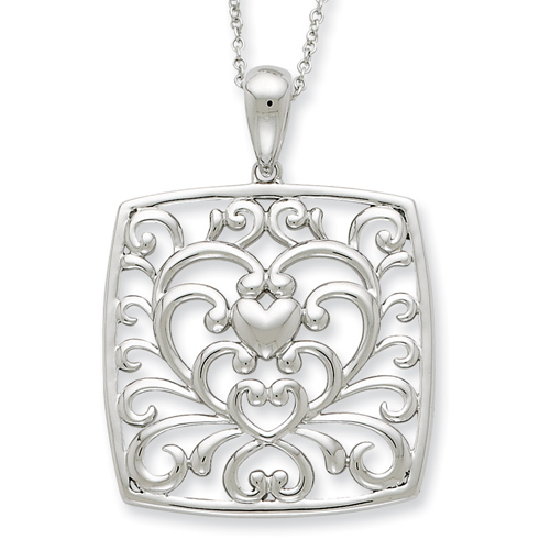Sterling Silver Antiqued I Care About What You Are Going Through 18in Neckl