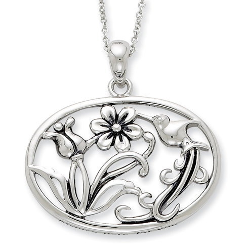 Sterling Silver Antiqued Always Here For You 18in Necklace