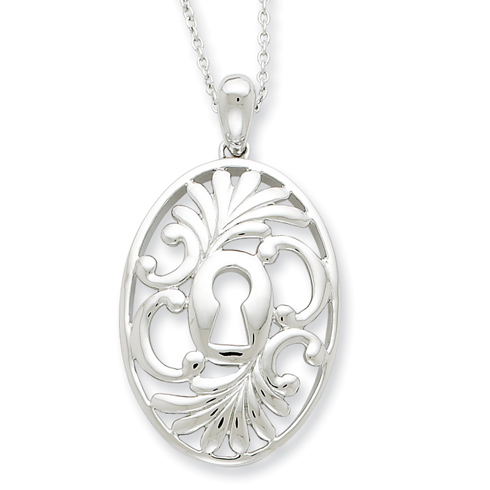 Sterling Silver Antiqued Believe In Miracles 18in Necklace