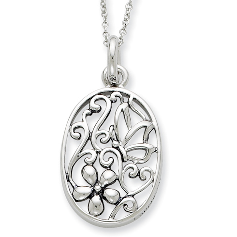 Sterling Silver Antiqued I Appreciate You My Daughter 18in Necklace