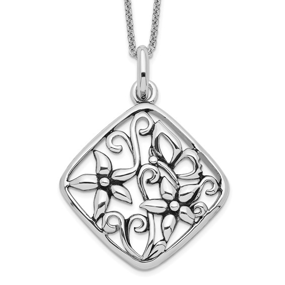 Sterling Silver Antiqued I Appreciate You Mom 18in Necklace