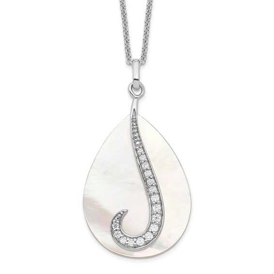Sterling Silver Mother of Pearl & CZ Tear From Heaven 18in Necklace