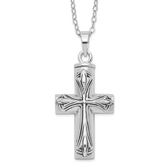 Sterling Silver Antiqued Cross Ash Holder 18in Necklace