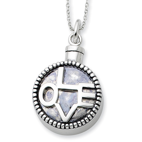 Sterling Silver Antiqued Love Ash Holder 18in Necklace