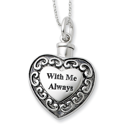 Sterling Silver With Me Always Ash Holder 18in Necklace