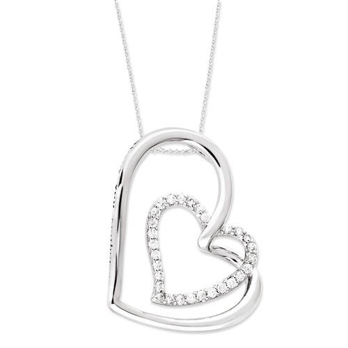 Sterling Silver Thank You Mother CZ Hearts 18in Necklace