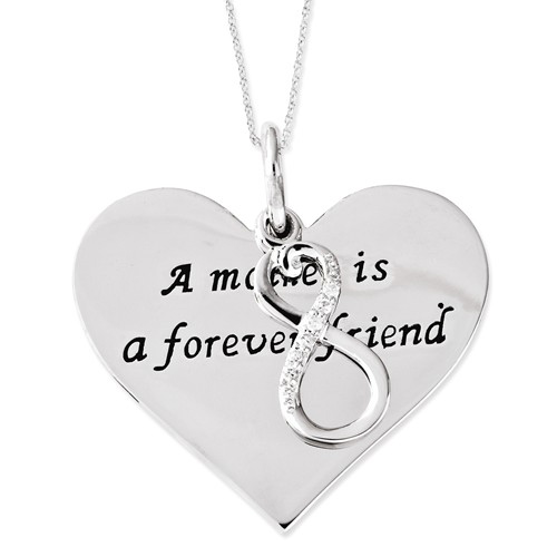 Sterling Silver CZ A Mother Is A Forever Friend 18in Necklace