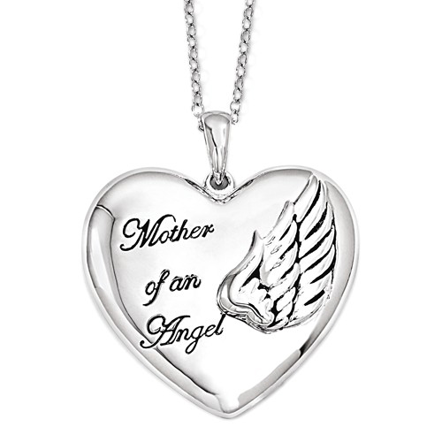 Sterling Silver Mother of an Angel Heart Necklace