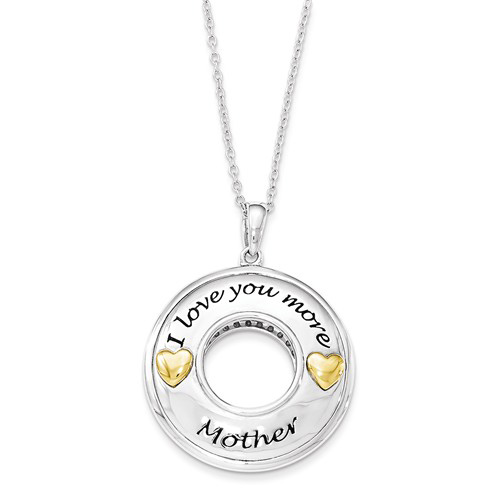 Gold-plated Sterling Silver I Love You More Mother 18in Necklace