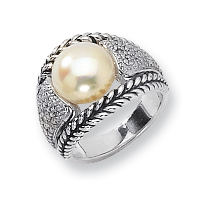 Sterling Silver Freshwater 11mm Pearl and Diamond Ring