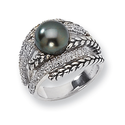 Tahitian 10mm Pearl and Diamond Ring Size 8