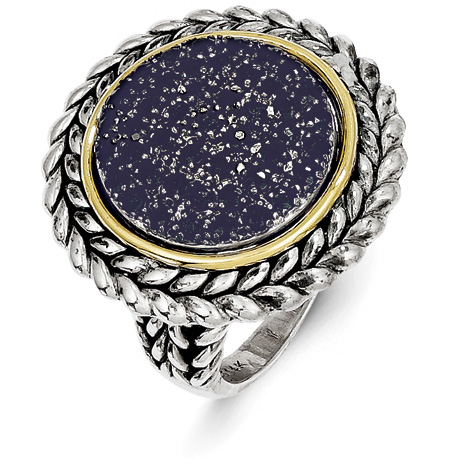 1.8 CT Blue Pavé Sapphire Ring Sterling Silver and 14k Gold