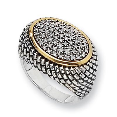 1/3 CT Diamond Pavé Ring Size 7 - Sterling Silver with 14k Gold