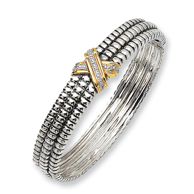 1/20 CT Diamond Bangle - Sterling Silver