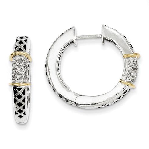 1/10 CT Diamond Hinged Hoop Earrings