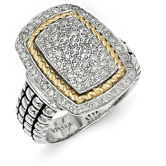 1/3 CT Diamond Pavé Ring Sterling Silver 14k Gold