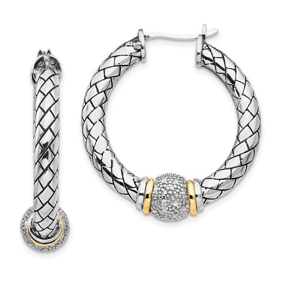 1/10 CT Diamond Hoop Earrings - Sterling Silver