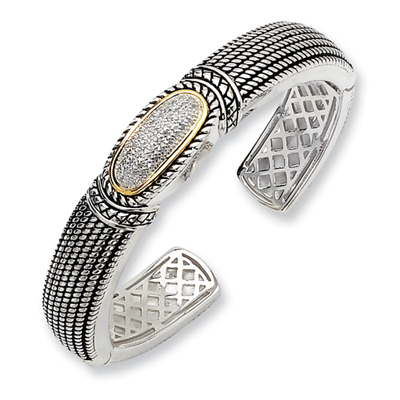 1/4 CT Diamond Bangle - Sterling Silver 14k Accents