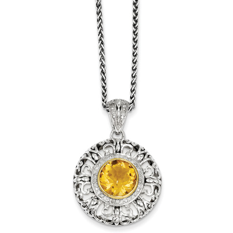 3.27 ct Citrine and 1/6 ct Diamond Necklace 18in