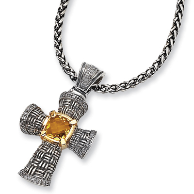 Sterling Silver 1/3 ct Diamond and 4.1 ct Citrine 18in Necklace