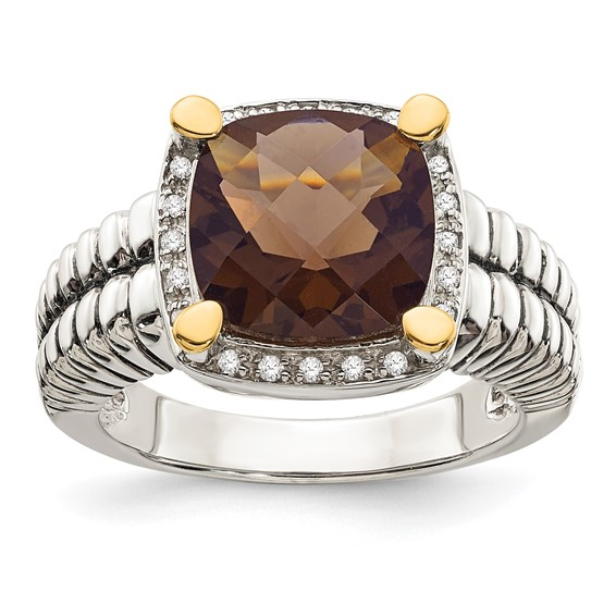 4.1 ct Smoky Quartz and Diamond Ring Sterling Silver