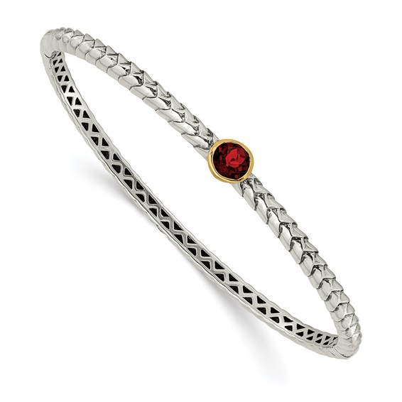 Sterling Silver Garnet Bangle with 14kt Yellow Gold Accent