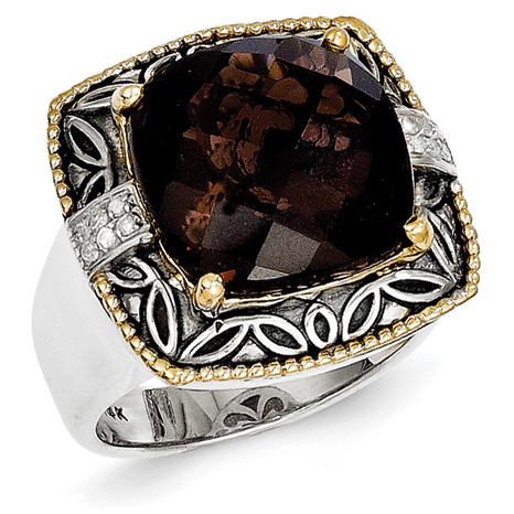 9.76 CT Smoky Quartz Ring with Diamonds Size 8