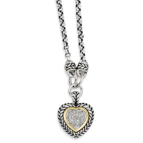 Sterling Silver 14kt Gold 1/6 ct Diamond Heart 20in Necklace