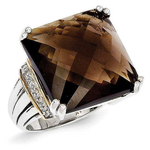 19.23 CT Smoky Quartz and Diamond Ring Size 7