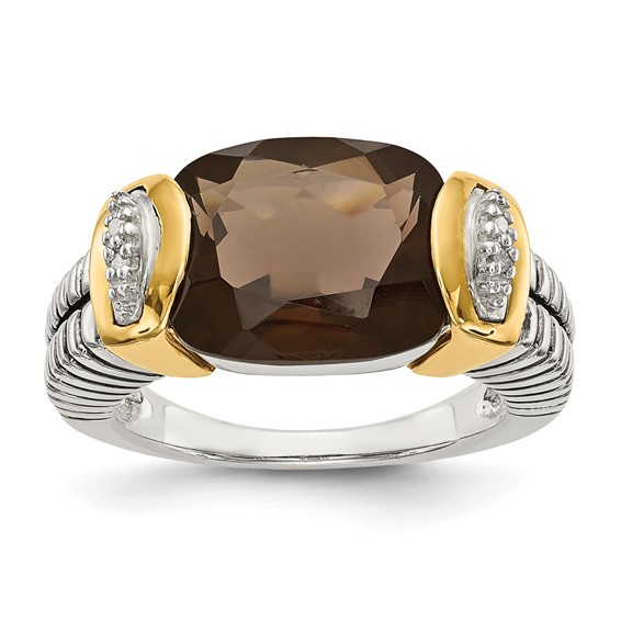 2.11 CT Smoky Quartz and Diamond Ring Size 7