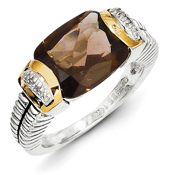 2.11 CT Smoky Quartz and Diamond Ring Size 6