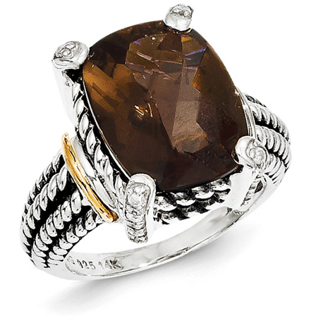 Sterling Silver 14k Gold 11 ct Smoky Quartz Ring with Diamonds Size 8